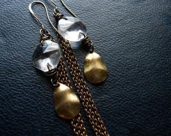 spectre - chandelier crystal earring tassel earrings copper earrings brass assemblage earrings found object earrings repurposed jewelry