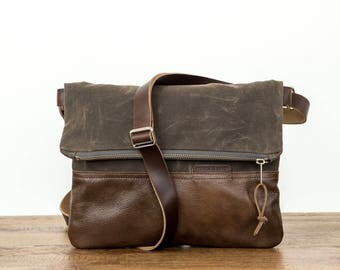 Waxed Canvas and Leather Foldover Crossbody Bag Bark Brown / Handmade Leather and Canvas Purse / Foldover Bag with Strap