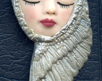 OOAK Polymer Clay Face with Silver Wings  Art Nouveau    AWS 6