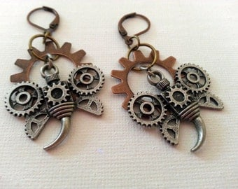 Steampunk Clockwork Insect Earrings II mixed metals