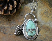 Winter Pinecone Necklace - Poseidon Variscite - sterling silver - oxidized and rustic