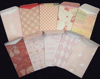 """10 """"Girly Girl"""" Coin Envelopes 2.25 inches X  3.75 inches"""
