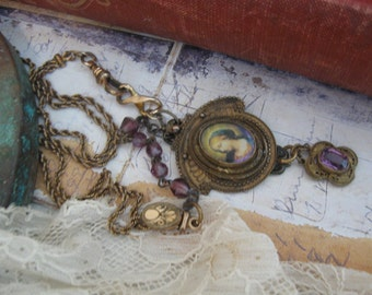 Reserved, antique Victorian, repurposed, assemblage, Madonna image, amethyst, rosary beads, upcycled, Edwardian, ooak, Virgin Mary