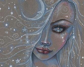 Cosmic Girl Pencil Drawing Fantasy Art Print by Molly Harrison 9 x 12