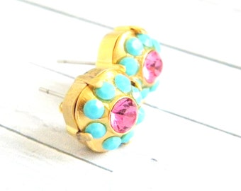 Swarovski Turquoise Rose Cushion Cut Gold Stud Earrings