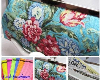 Coupon Organizer Cash Envelope System Robins Blue Bouquet
