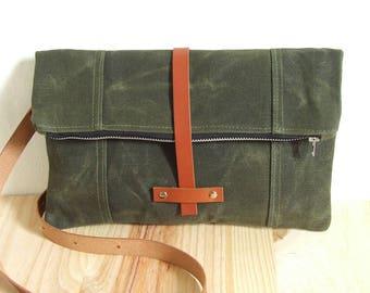 Waxed Canvas Bag , Crossbody Bag , FoldOver Bag , Handbag , Leather Handles
