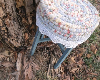 BOHO COTTAGE   hand coiled textile accent table OR plant stand