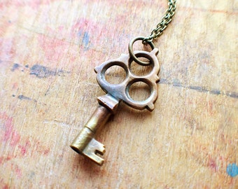 Antique Brass Key Necklace
