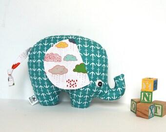 Stuffed Elephant,  Elephant Softie, Elephant Pillow, Soft Baby Toy, Baby Boy Gift