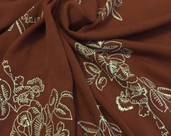 Embroidered Crinkle Rayon Fabric 3 Yards