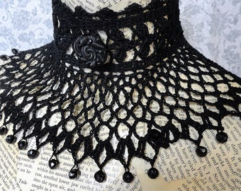 Black Steampunk Victorian Noir Gothic  Wiccan Costume Wedding Lace Beaded Crochet Choker