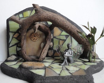 "Fairy Door, Stained Glass Mosaic 3D Garden Sculpture, Diorama, Fairy House, Woodland Sculpture, Home Decor, Fairy Statue, ""The Forest Floor"""