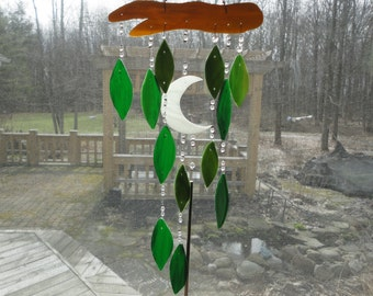 Stained Glass, Wind Chime, Home Decor, Garden Art, Sculpture, Tree, Nature, Leaves, Forest, Moonlight, Woods, Mobile, Porch Hanging, Window