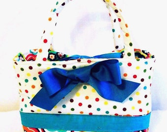 Little Girls Purse Totebag Handbag, Dots and Florals, Handmade, Made in the USA , #1