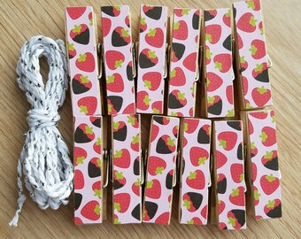 Pink Choloate Covered Strawberries Chunky Little Clothespin Clips w Twine for Display -  Set of 12 - Wedding Shower
