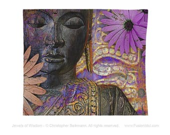 Buddha Tapestry - Jewels of Wisdom - Jewel Tone Zen Black Buddha and Daisy Artwork on Lightweight Polyester Fabric