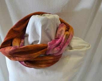 Hand Dyed Hemp Knit Infinity Scarf - Intense Colors that will Express Your Creativity, Soft Knit Fabric, Berry and Nutmeg