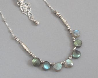 Labradorite Necklace Sterling Silver Coin Bead Chain DJStrang Boho Segment Color Flashing Gemstone