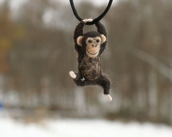 Tiny Chimpanzee Necklace / sculpture - needle felted
