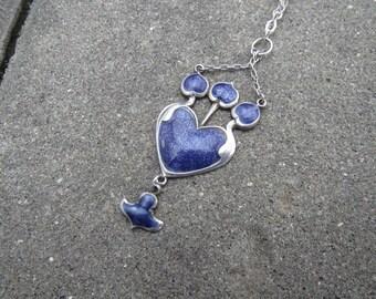 Antique Nouveau Silver and Enamel Pendant Necklace