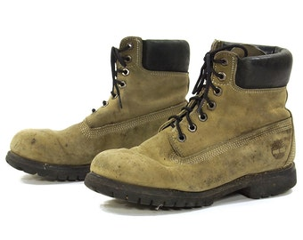 90s Timberland Lace Up Ankle Boots / Vintage 1990s Distressed Grey Leather Hiking Work Logger Rugged Boots / Men's Size 7.5 / Women's Size 9