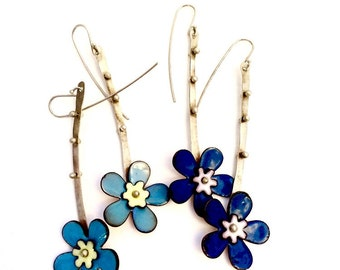 Long Flower Earrings with small accent flowers- dangle silver with dots