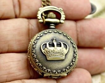 Steampunk Brass Crown Pocket Watch with 28 Inch Brass Chain
