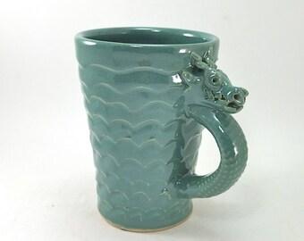 green dragon mug with scales
