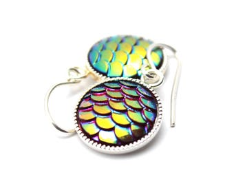 Fuchsia Red Mermaid Dangle Earrings Iridescent Orange Yellow Blue Dragon Scales 12mm Sterling Silver Scalloped Round Waves Rain Forest Beach