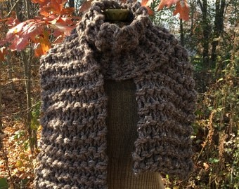 Chunky Knit Scarf Barley Brown Large Knit Scarf Super Scarf