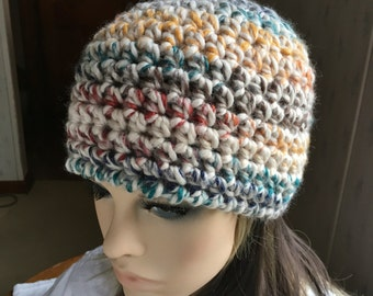 Crochet Beanie Hat Chunky Crochet Hat Multicolor Cream Rust Green Gold