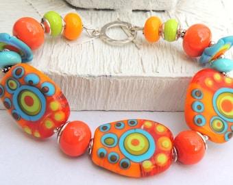 TROPICANA Handmade Lampwork Bead Bracelet
