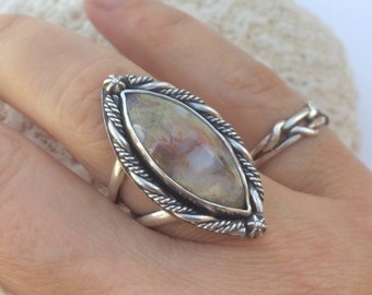 Ocean Jasper Sterling Silver Ring, Size 7 1/4, Handmade Stone Ring, Marquis Shape Ring, Handcrafted Artisan Metalsmith Ring, Bohemian Ring