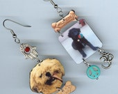 Custom made Dog earrings asymmetrical mismatched
