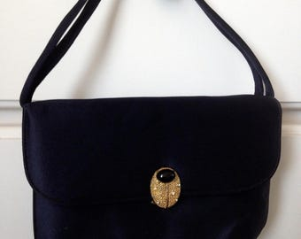 MISS LEWIS Vintage Lady Bug Scarab Clasp Purse Navy Evening Hand Bag Mid Century 50s