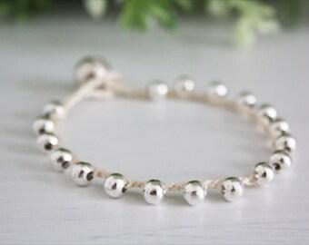 Beige Crochet Boho chic bracelet, super light thin bracelet