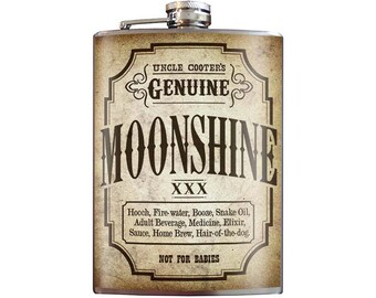 Moonshine Flask - 8oz Stainless Steel Flask - comes in a GIFT BOX -  by Trixie & Milo Uncle Cooter's Genuine Moonshine