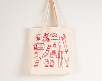 SKI TOOLS Tote- screen printed canvas bag- skis, gloves, poles, flask