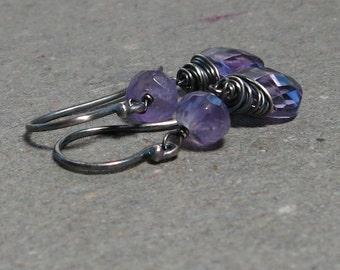 Purple Amethyst Earrings Dangle February Birthstone Oxidized Sterling Silver Earrings Gift for Her