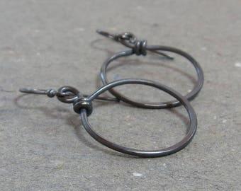 Sterling Silver Hoop Earrings Oxidized Minimalist Earrings Gift for Her
