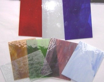 6 x 8 Inch Stained Glass Sheets ((( 2 Pack )) with 22 Assorted Colors Available to choose from.