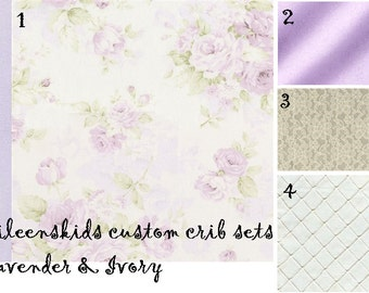 Girls Custom Crib set  Lavender and Ivory  for Michellellanas only