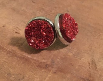 Red druzy earrings-stainless steel earrings-red drusy earrings-red faux druzy earrings-Christmas earrings-Christmas accessories