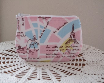 Coin Business Card Clutch Zipper Case Streets of Paris