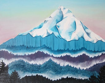 Art - Painting - Mt Hood Painting - Mt Hood Oil Painting - Oregon Art - Mountain Art - Mountain Painting - Mt Hood Art - Sunrise Over Hood