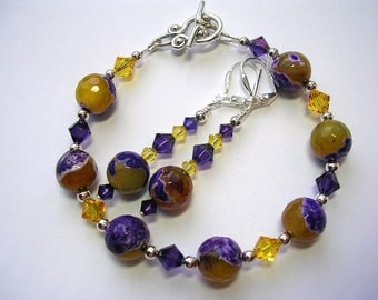 Purple and yellow agate bracelet gemstone swarovski crystal bracelet and earring set silver leverback hooks toggle clasp wire wrapped