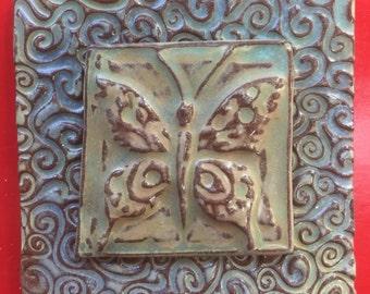 Butterfly handmade earthenware tile by tilesmile