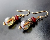 Burgundy Earrings, Rustic Antique Style Glass Dangles, Gold And Deep Red
