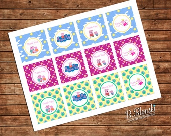 Peppa Pig Printable Cupcake toppers or favor tags - instant download